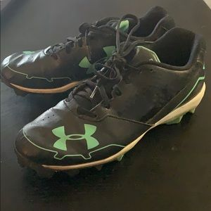 Under Armour softball cleats, black and mint green